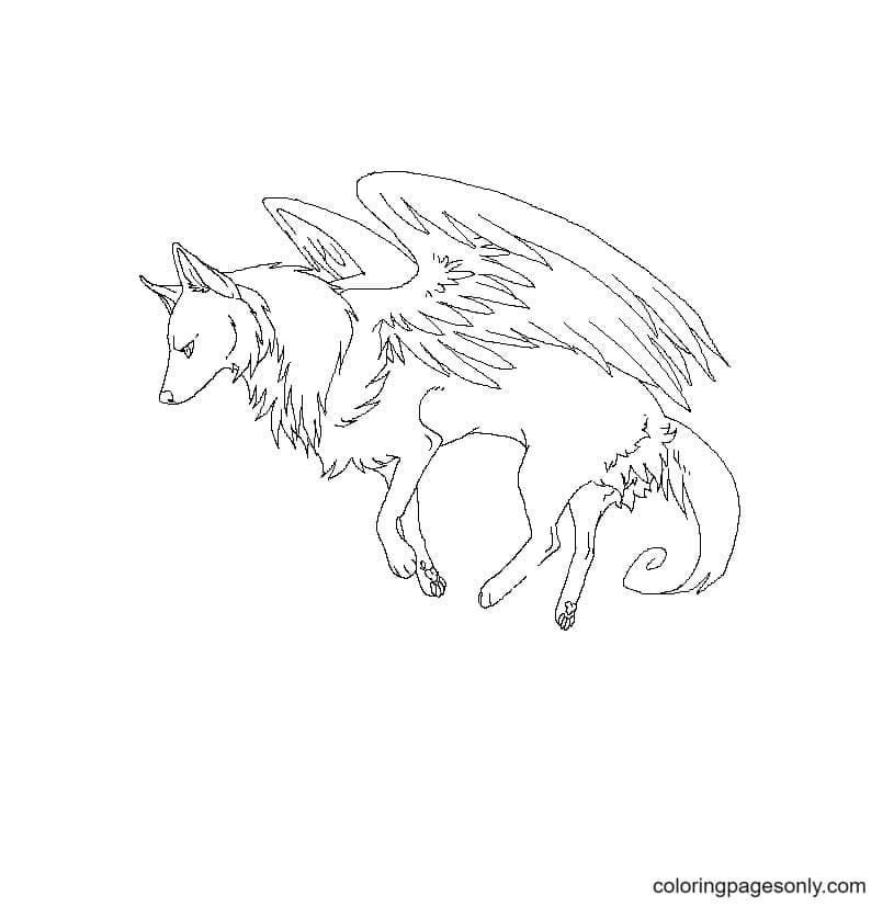 Winged wolf feels bad Coloring Page