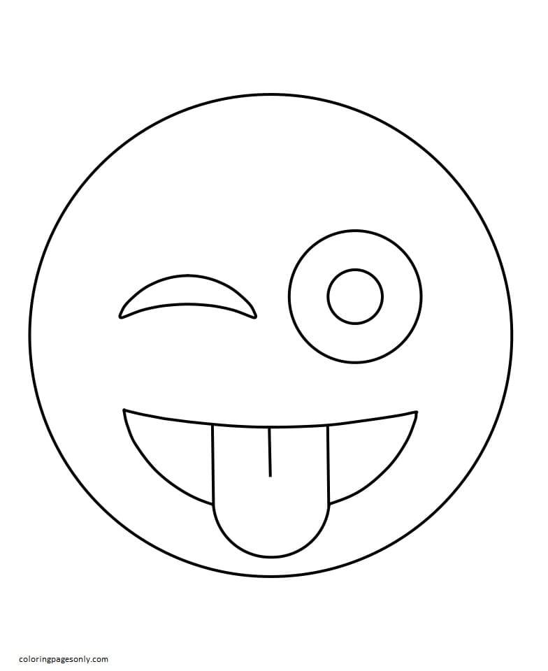 Wink Face Emoji Coloring Page