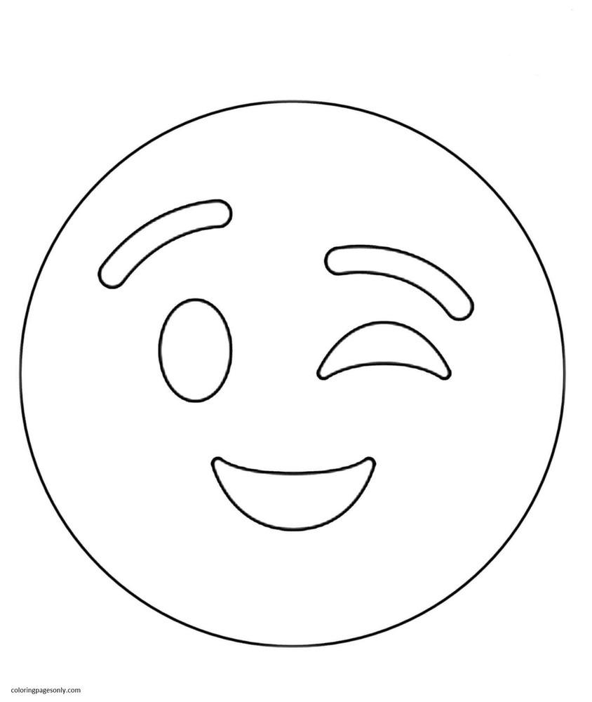 Winking Emoji Coloring Page