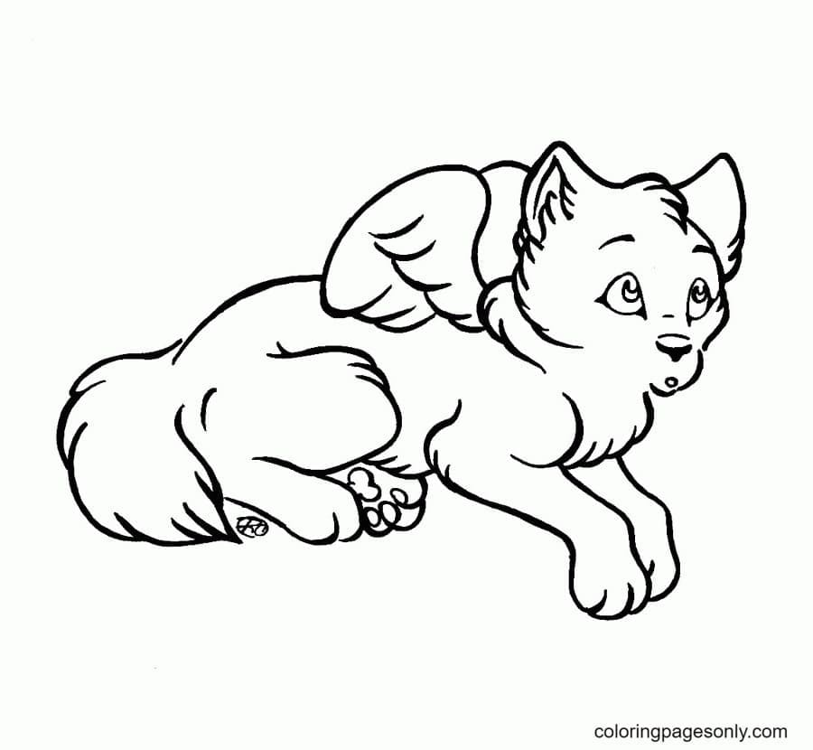 Wolf With Growing Wings Coloring Page
