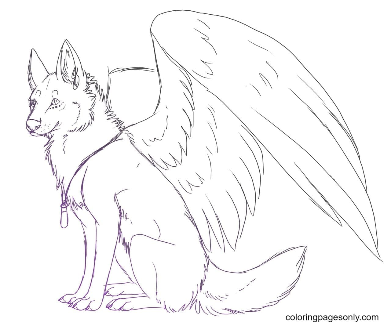 Wolf With Wings Printable Coloring Page