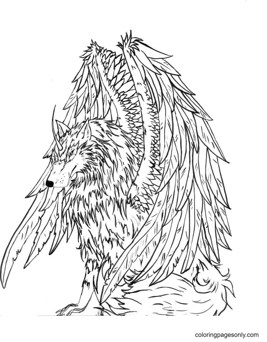 Wolf With Wings Scary Coloring Page
