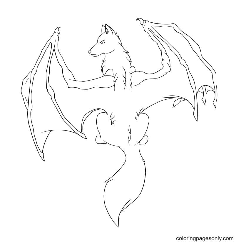 Wolf with bat wings Coloring Page