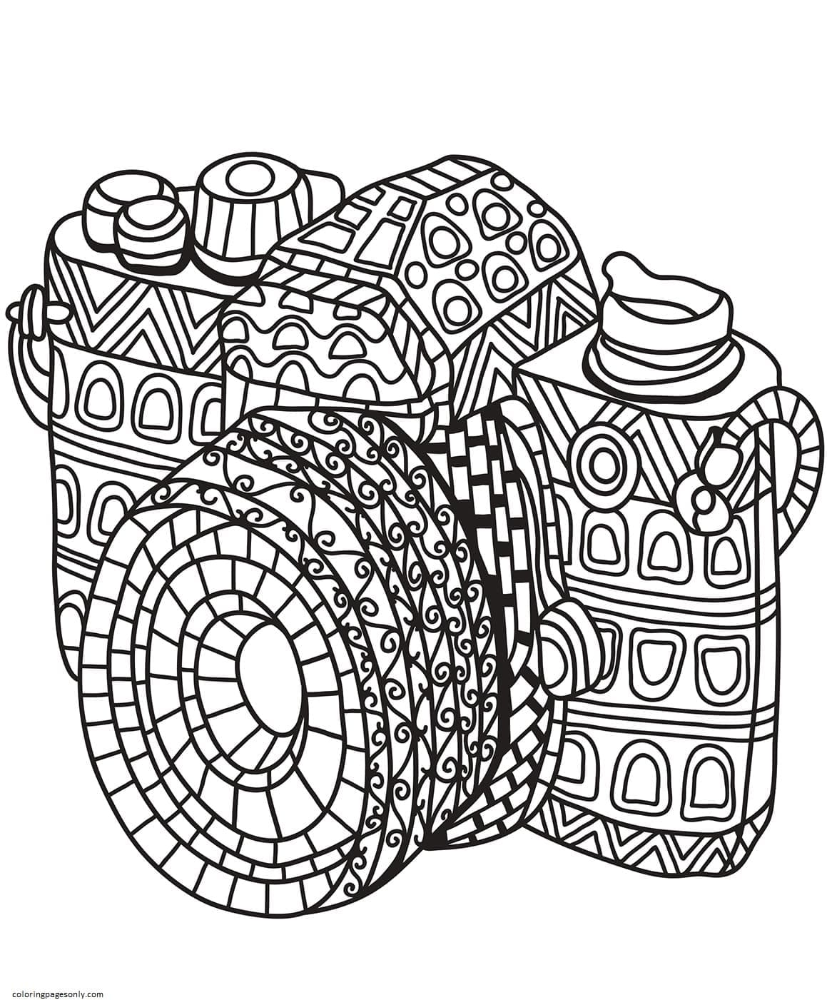 Zentangle Camera Coloring Page