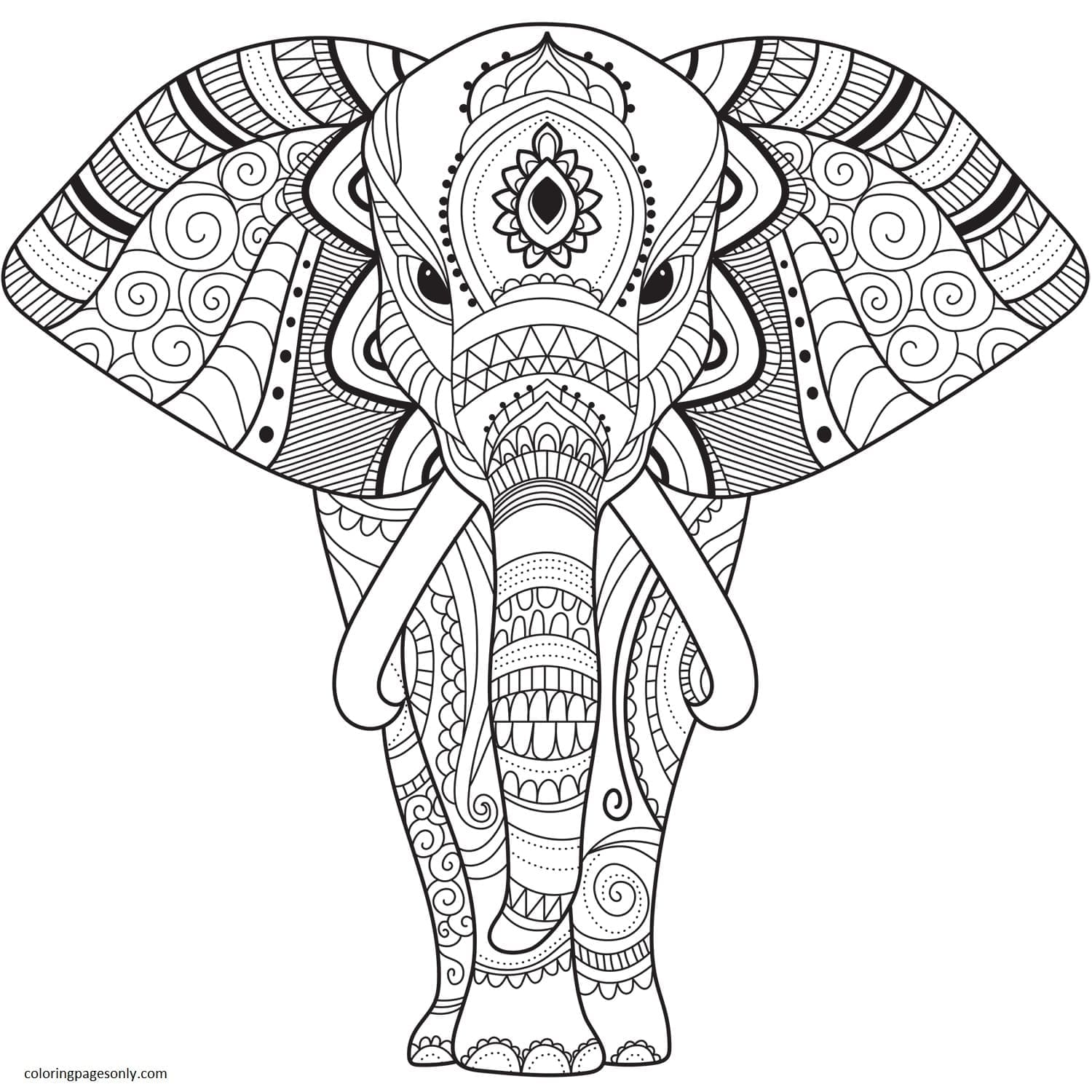 Zentangle Elephant Coloring Page