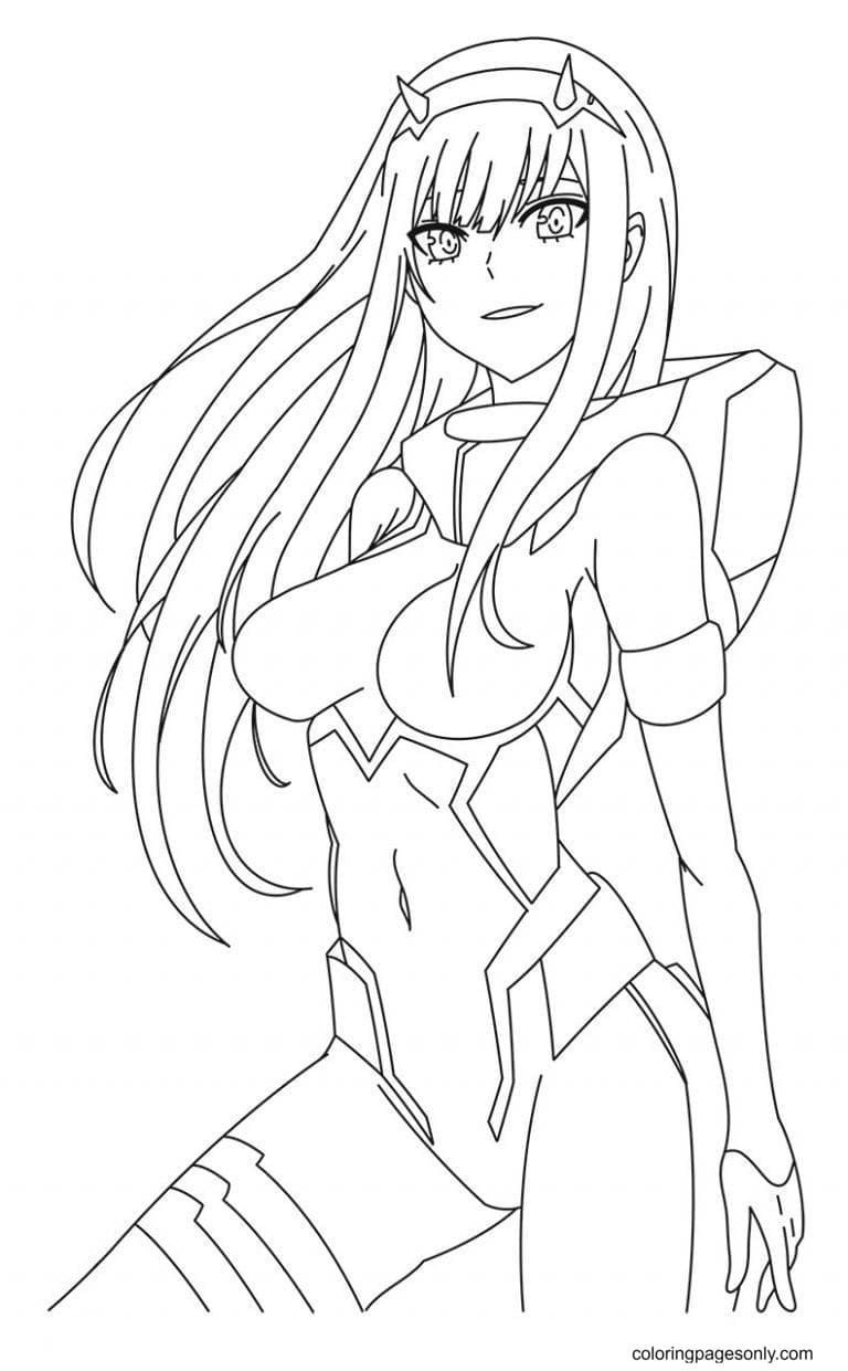 Zero 2 From Darling In The FranXX Coloring Page
