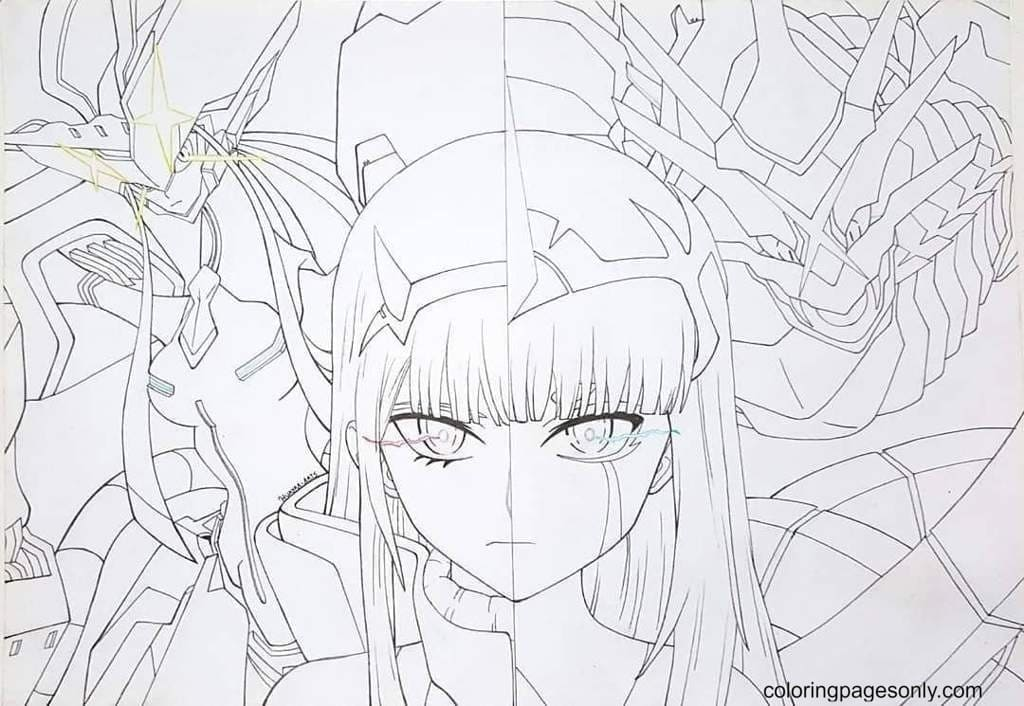 Zero Two Anime Coloring Page
