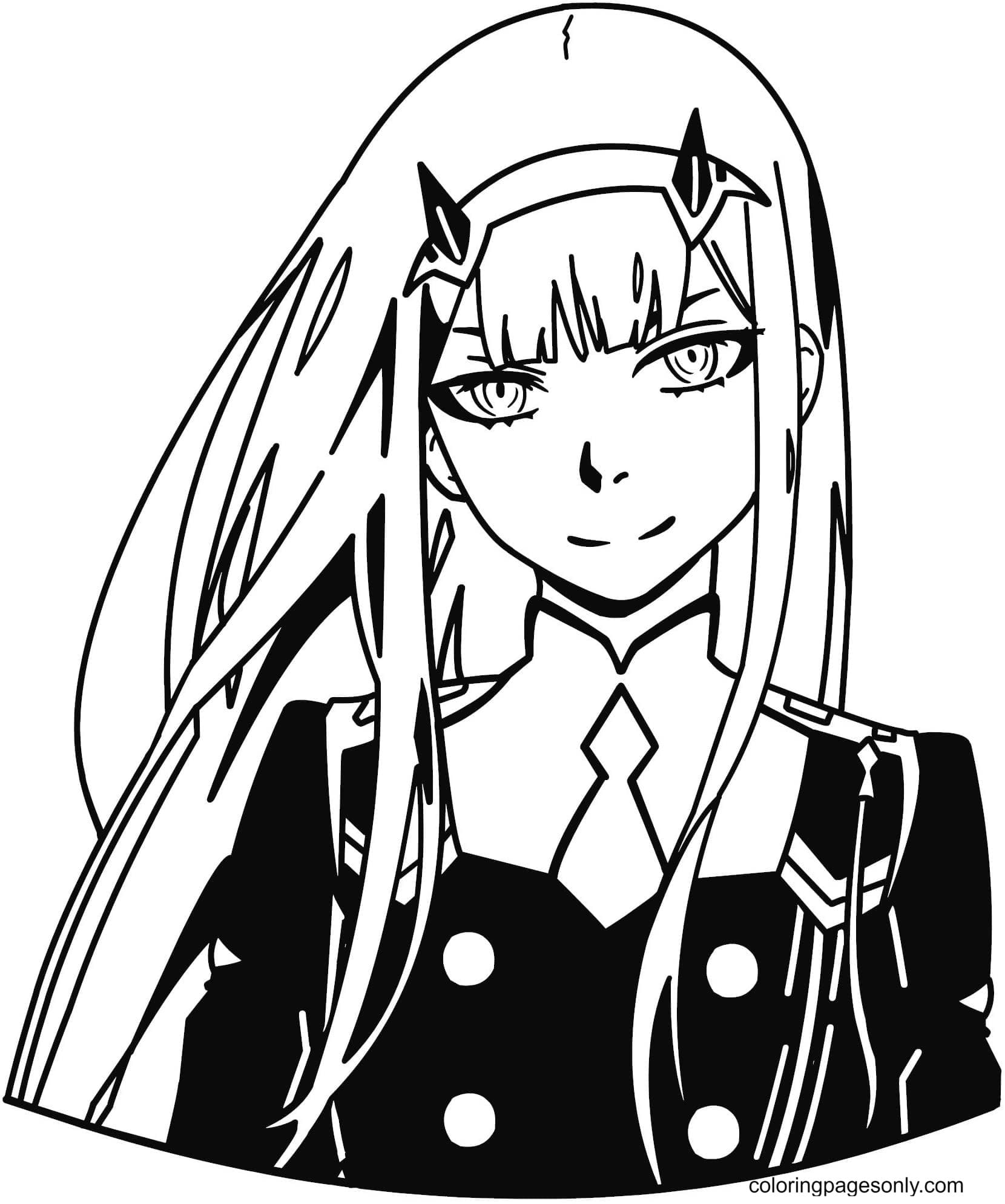 Zero Two – Darling In The FRANXX Coloring Page