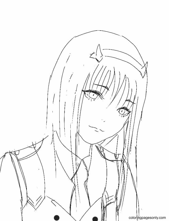 Zero Two Sketch Coloring Page