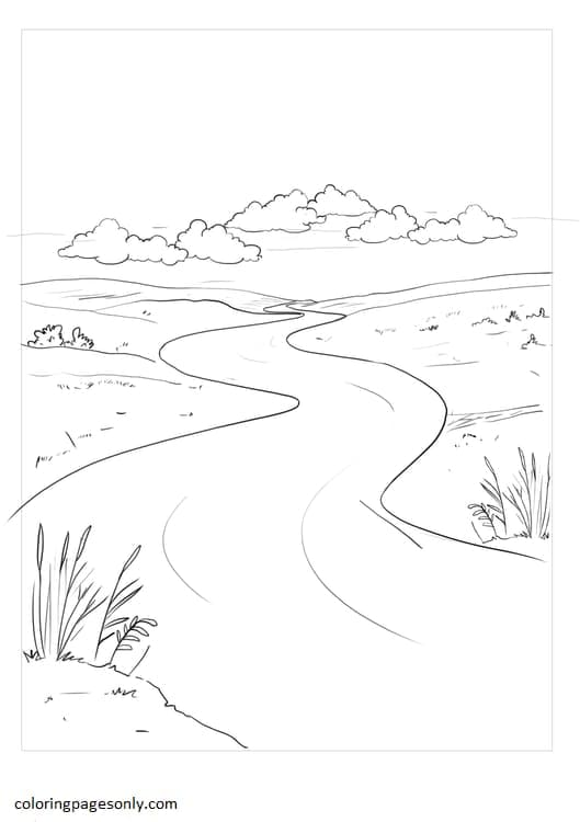 Zigzag Rivers Coloring Page
