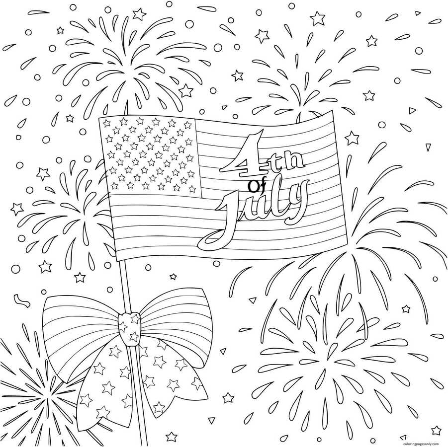 American Flag with firework happy 4th of july Coloring Page