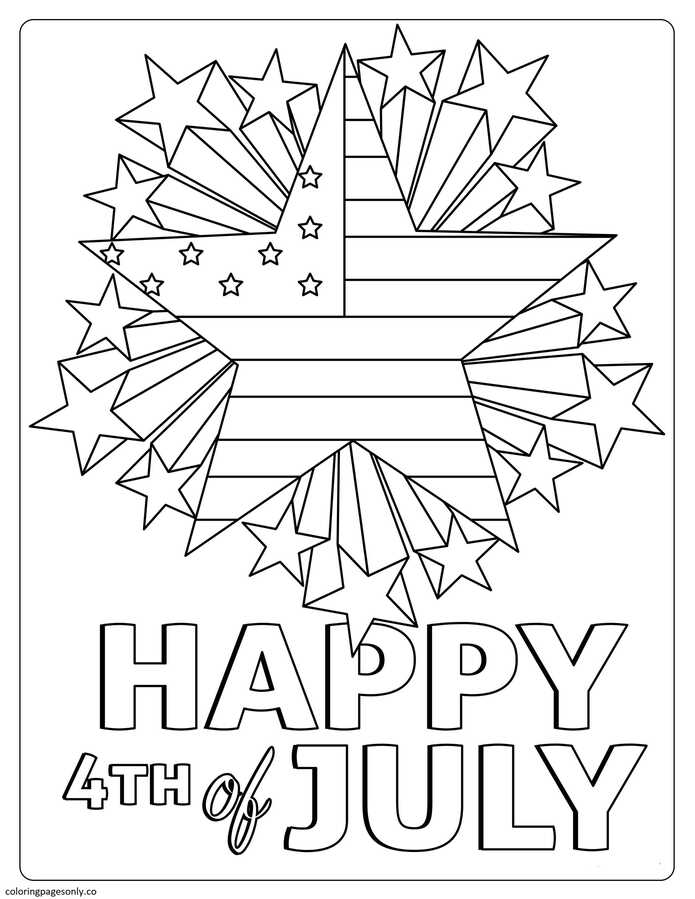 Happy 4th of July 1 Coloring Page