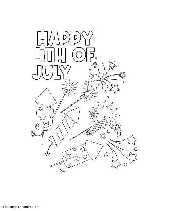 Happy 4th of July Fireworks Coloring Page