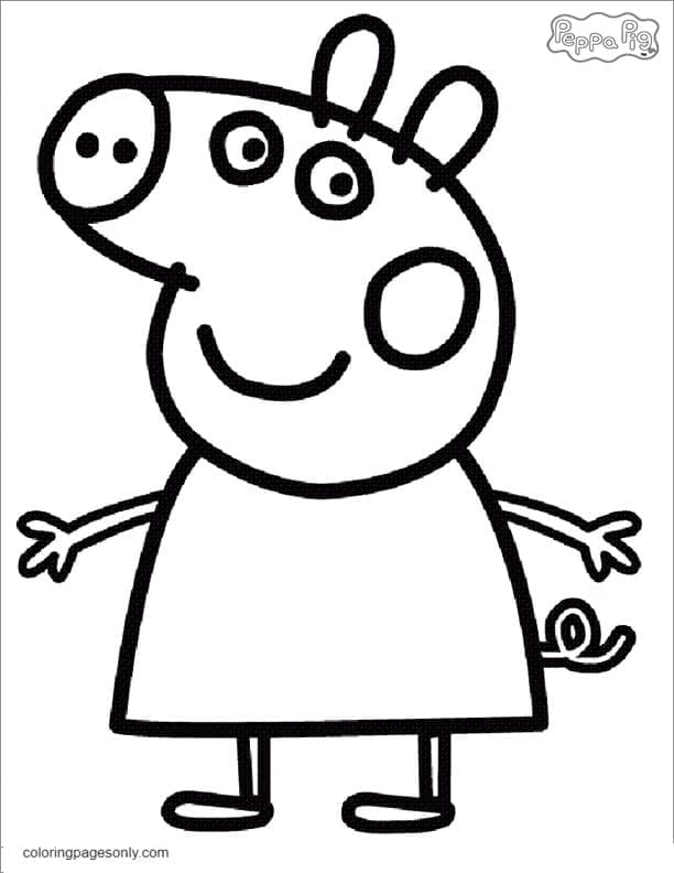 Happy Peppa Pig Coloring Page