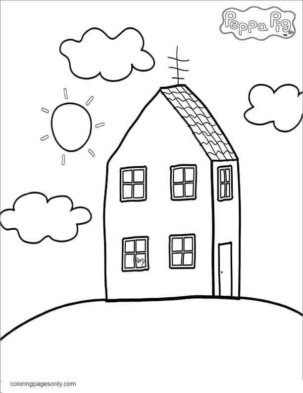 Peppa Pig House Coloring Page