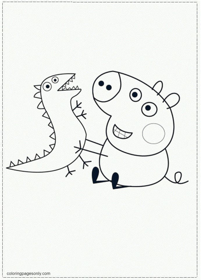 George with dinosaur toy Coloring Page
