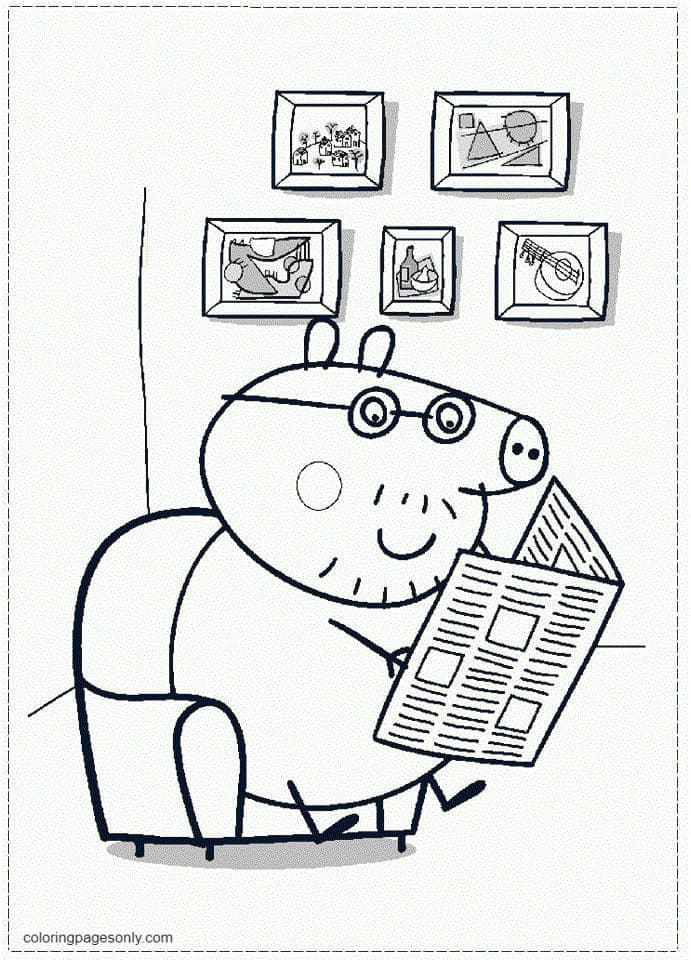 Daddy Pig Reading Newspaper Coloring Page