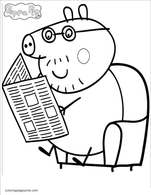 Daddy Pig Reading Newspaper 1 Coloring Page