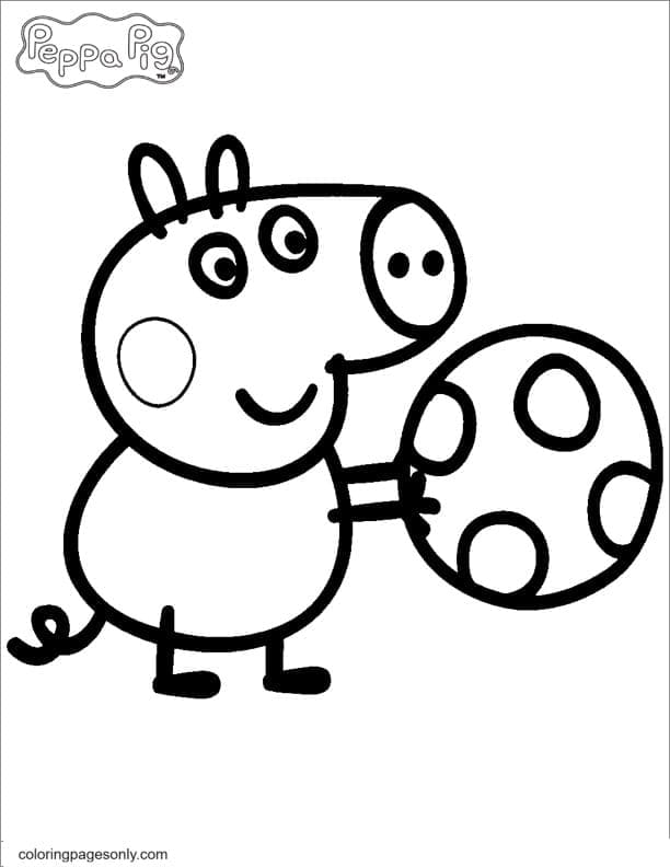 George Pig Playing a Ball Coloring Page