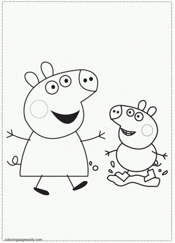 George and Peppa Coloring Page