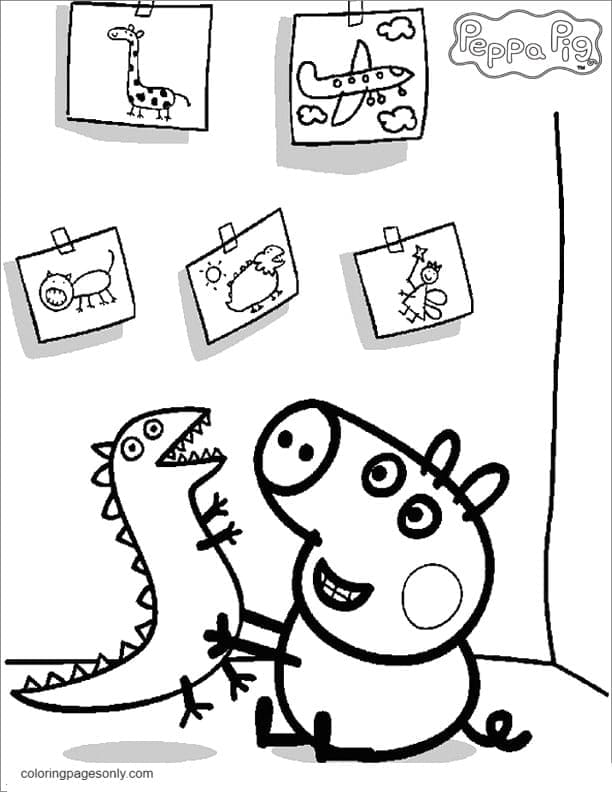 George Pig and Mr Dinosaur Coloring Page