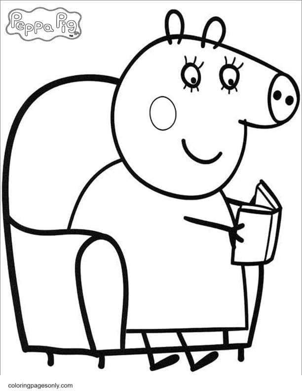 Mummy Pig Reading Book Coloring Page