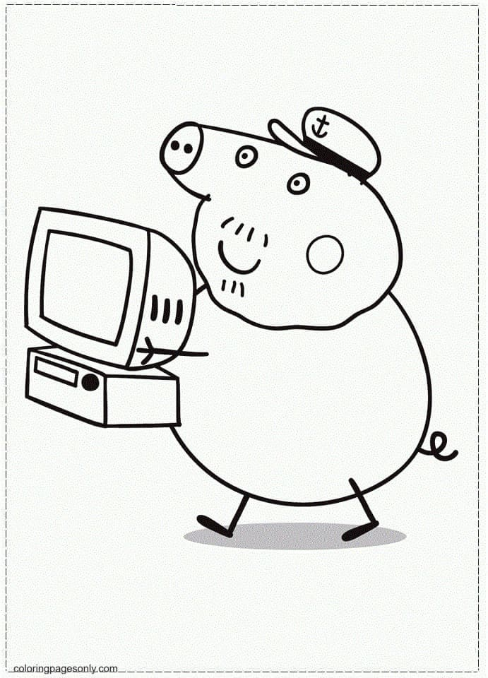 Daddy Pig Holds a Compute Coloring Page