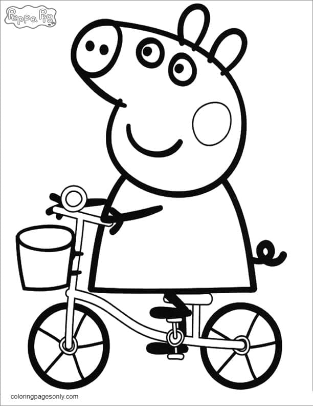 Peppa Pig Riding a Bicycle Coloring Page