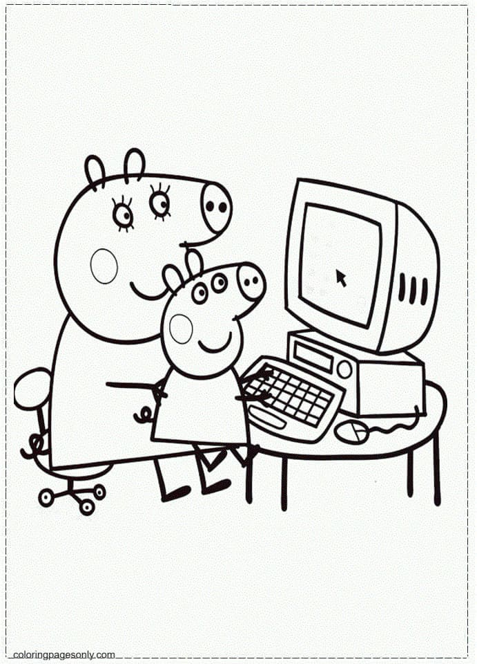 Mummy and George Playing Computer Coloring Page