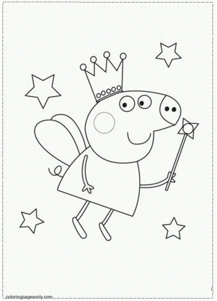 Peppa Pig Princess Coloring Page