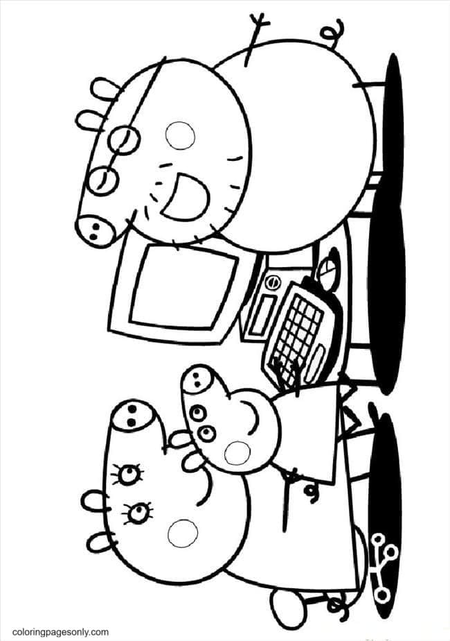 George and Mummy and Daddy Playing Computer Coloring Page