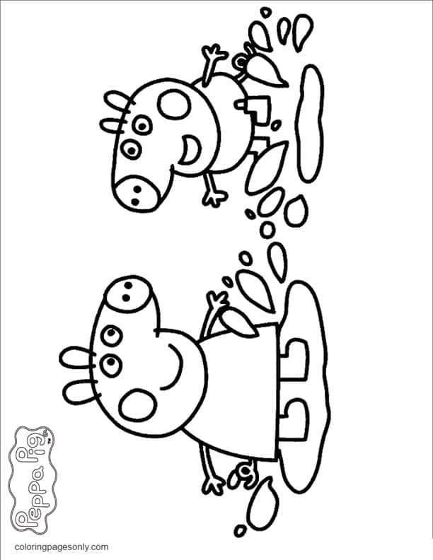 George and Peppa Jumping in Muddy Puddles Coloring Page