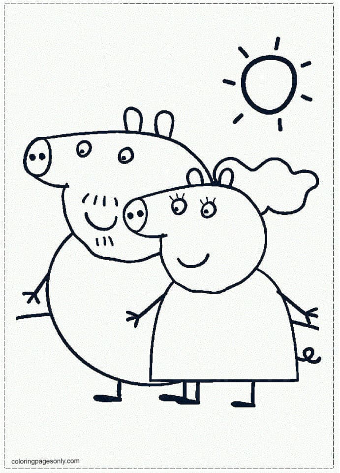 Daddy Pig and Mummy Pig Coloring Page