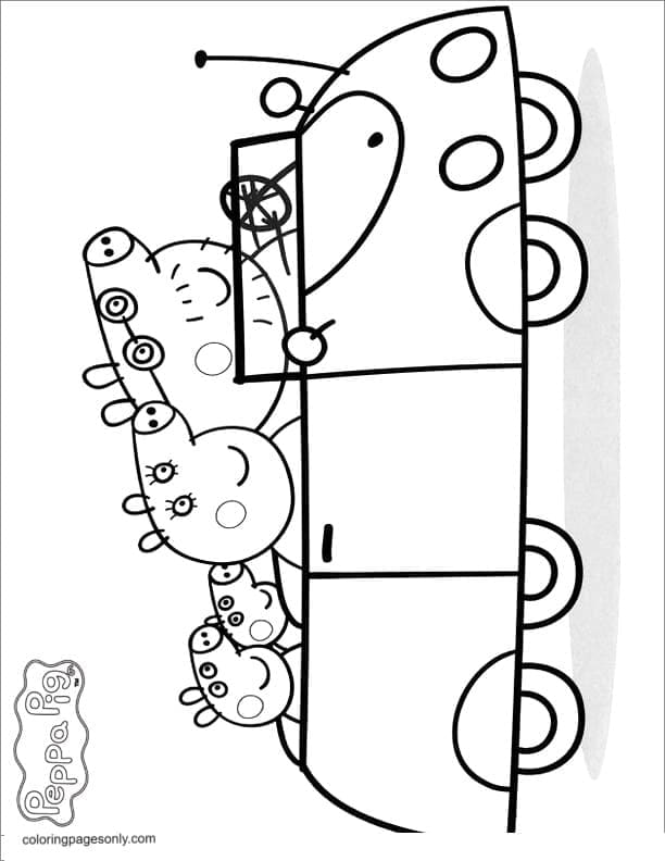 Peppa Family on the Car Coloring Page