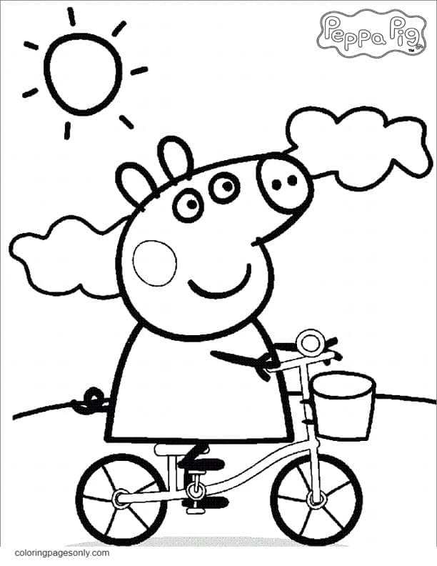 Peppa Pig rides a bike Coloring Page