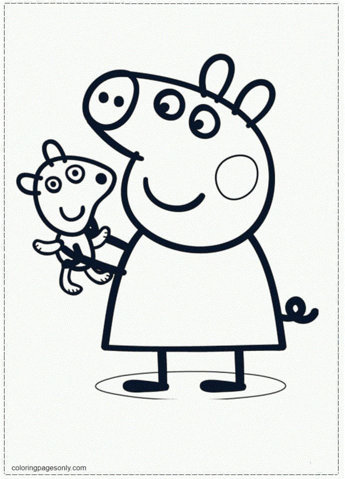 Peppa Pig and Teddy Bear Coloring Page