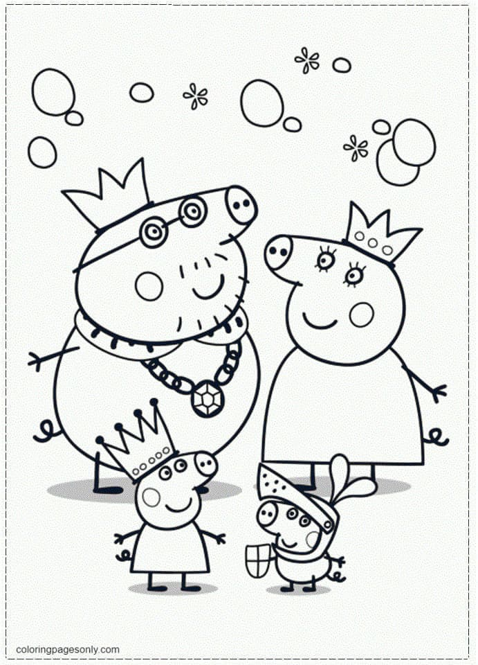 Peppa Pig's Royal Family Coloring Page