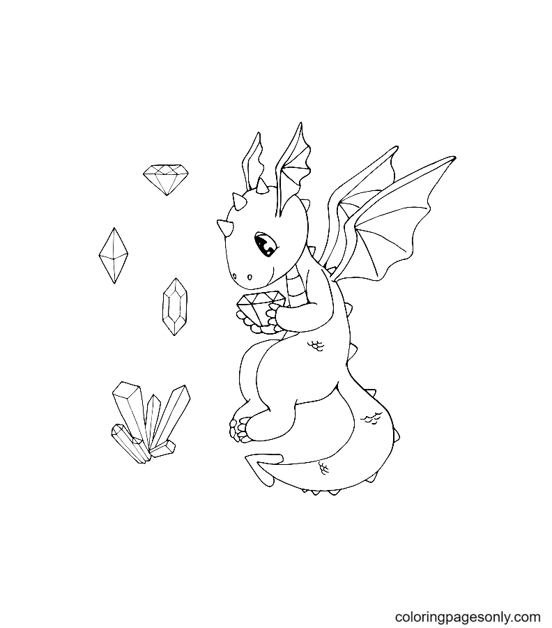 Сute Dragon with a gemstone and various crystals Coloring Page
