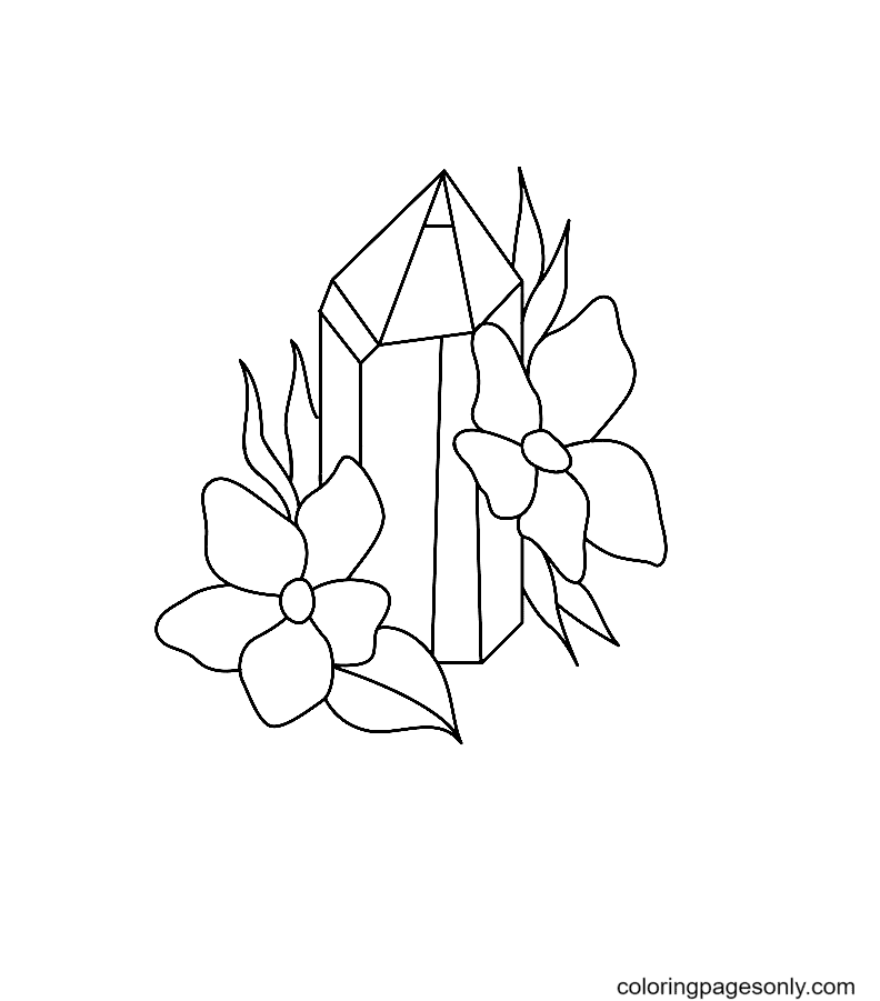 A Crystal with Flowers Coloring Page