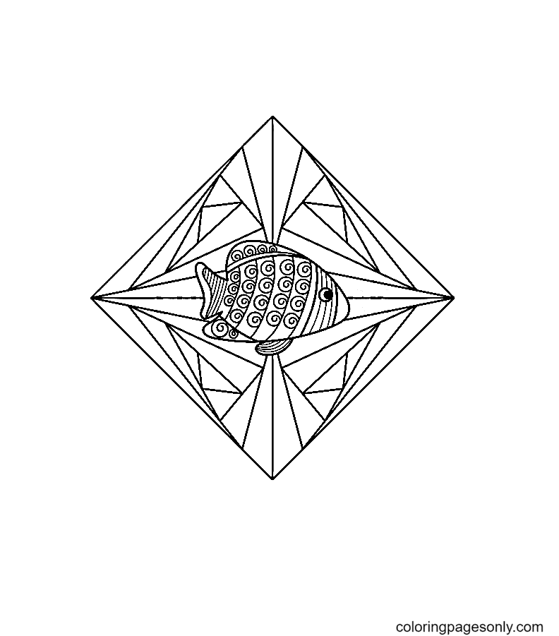 A fish inside the Crystal Coloring Page