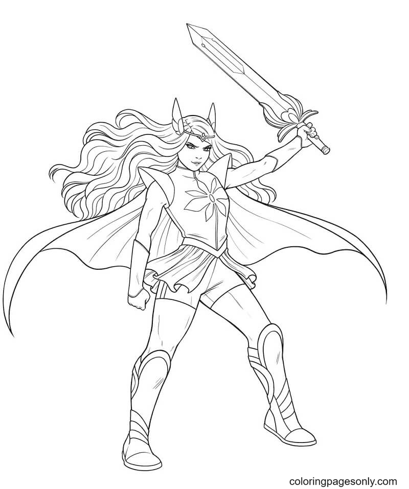 Adora with sword Coloring Page