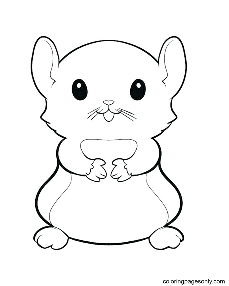 Adorable Hamster Coloring Page
