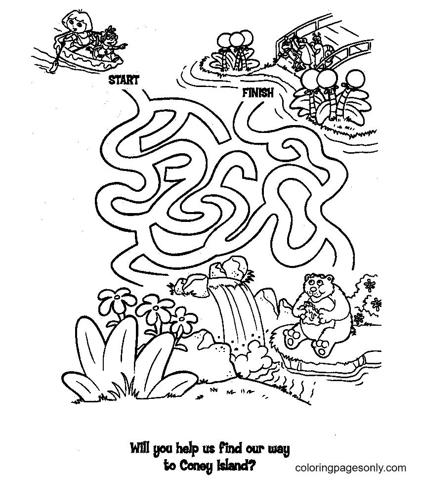 Adventure of Dora Coloring Page