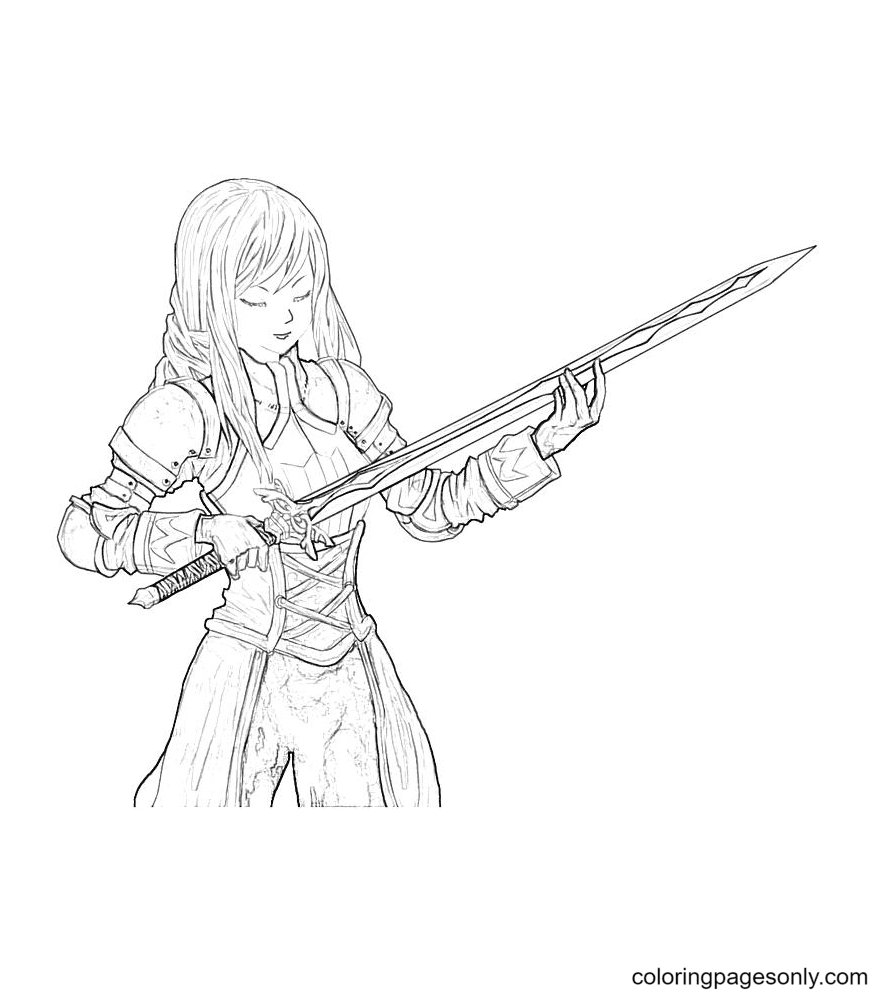 Agrias Oaks Sword Coloring Page