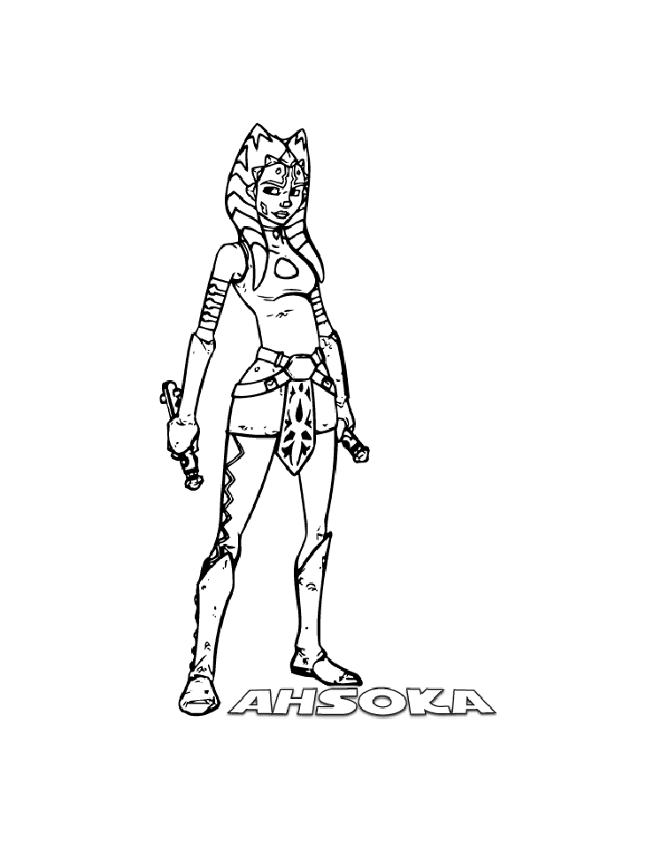 Ahsoka From Star War Coloring Page
