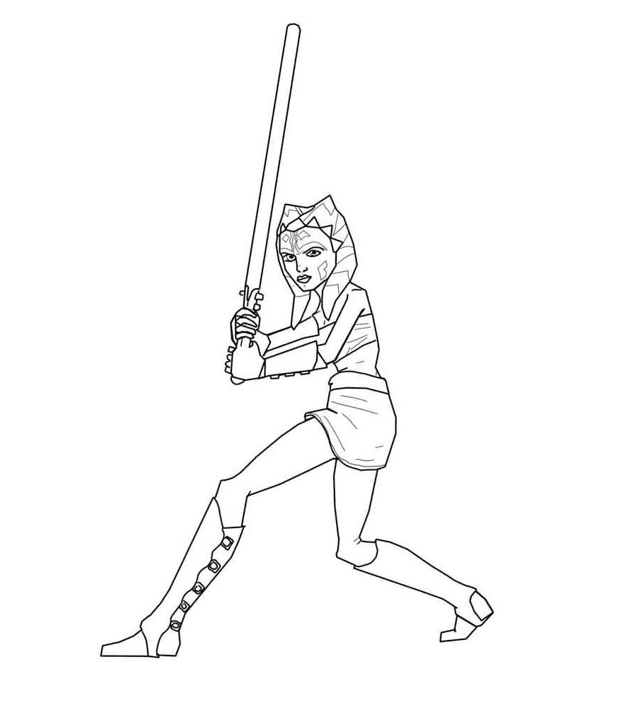 Ahsoka Tano Fighting Coloring Page