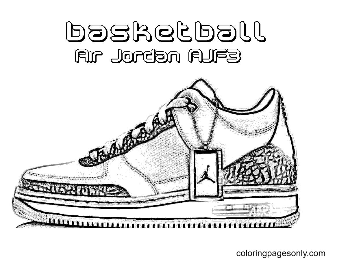 Air Jordan Basketball Shoes Coloring Page