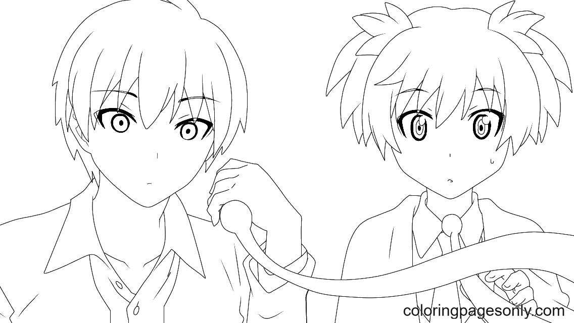 Akabane Karma and Shiota Nagisa Coloring Page