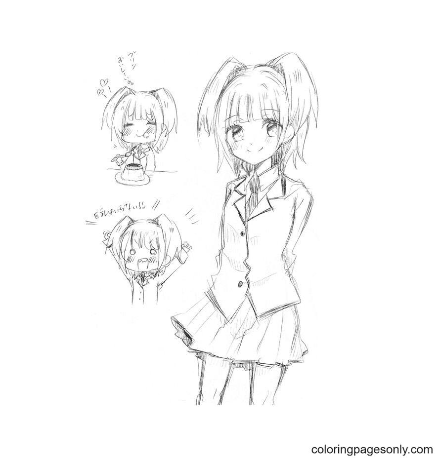 Akari Yukimura Coloring Page