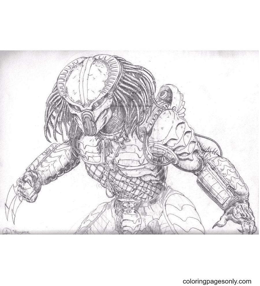Alien Predator Printable Coloring Page